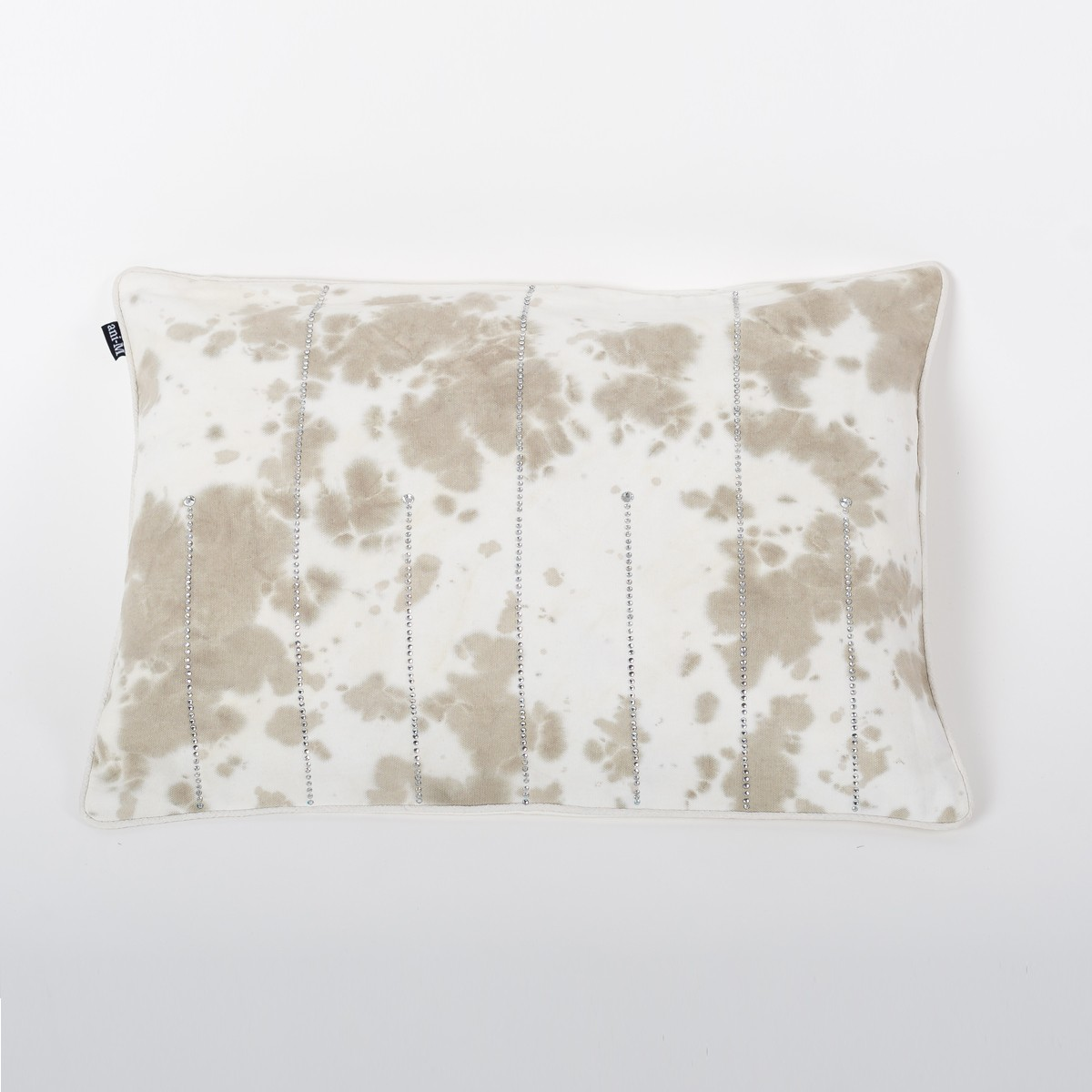 Petite Ombre Gale Grey & Ivory Tie & Dye Cotton Rectangle Cushion Cover with Crystals Front