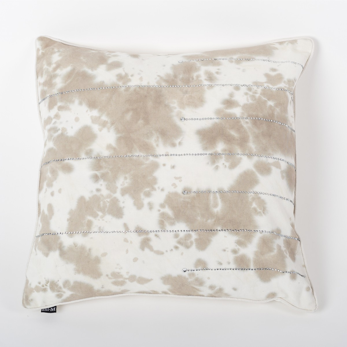 Ombre Gale Grey & Ivory Tie & Dye Cotton Cushion Cover with Crystals Front