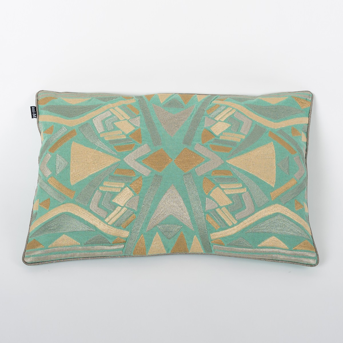 Petti Mint Folk - Teal Cotton Cushion Cover with Thread Embroidery