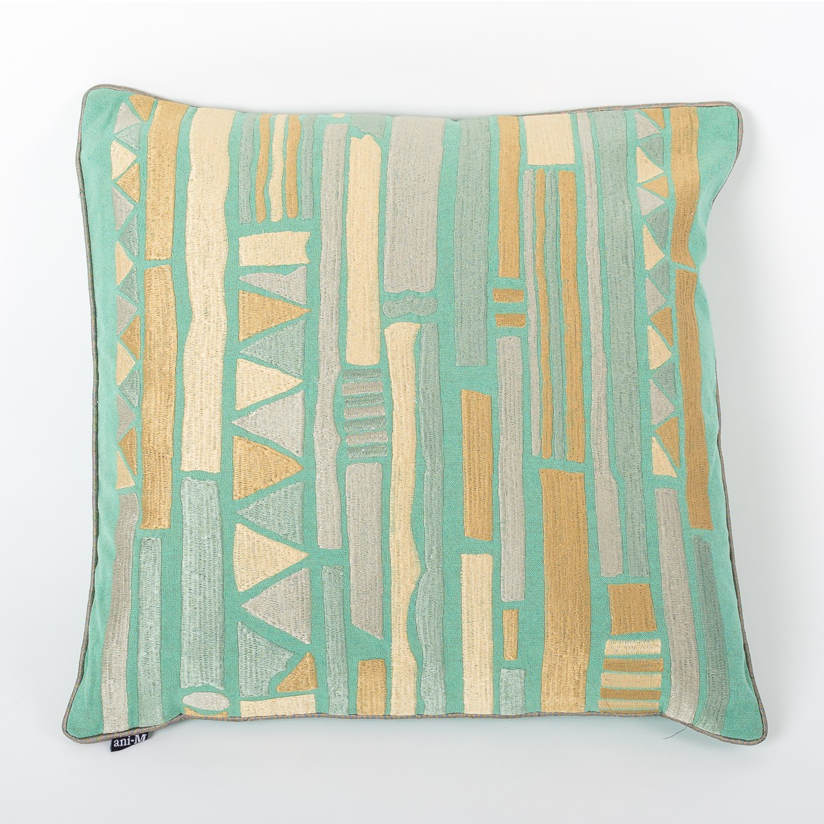Teal Cotton Square Cushion Cover with Thread Embroidery Front
