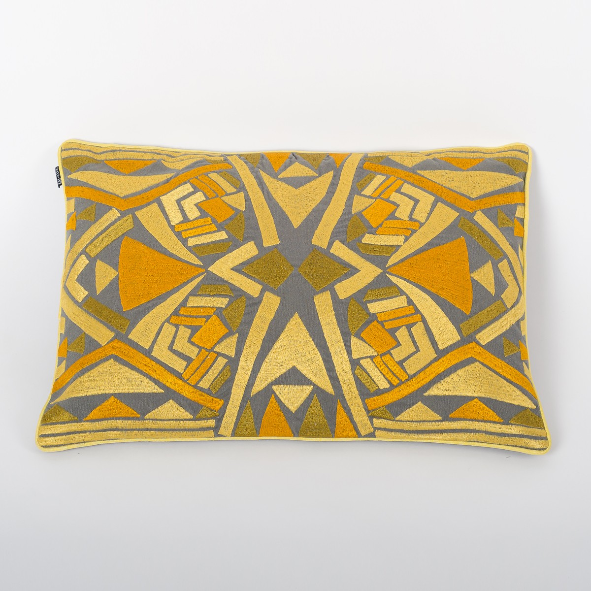 Grey Cotton Cushion Cover with Citrine Thread Embroidery Front