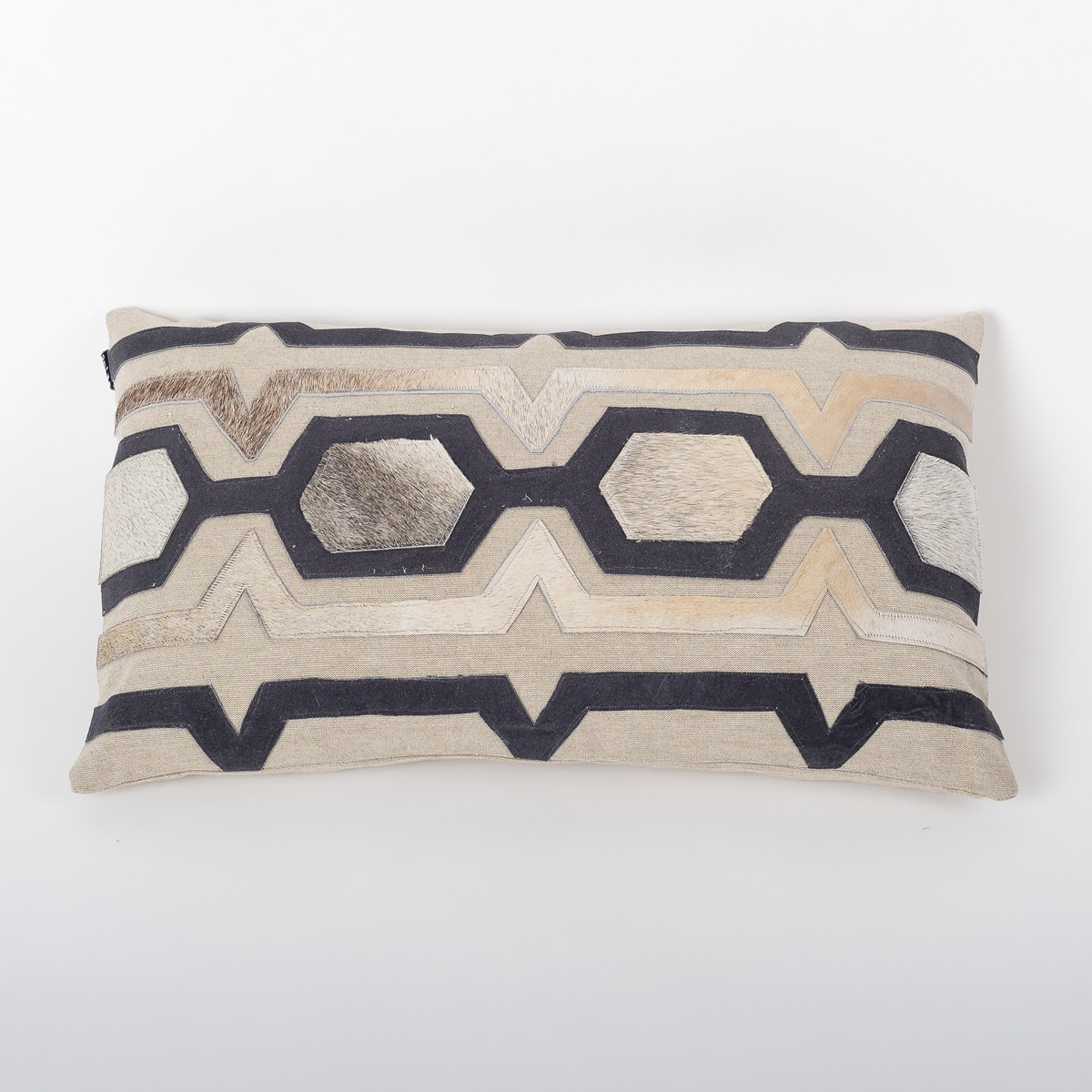 Regal Lattice - Wheat Cotton Cushion Cover with Suede & Leather Cut Work