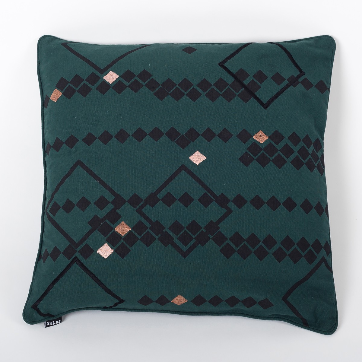 Rhombus Moss Green Cotton Cushion Cover with Thread Embroidery Front