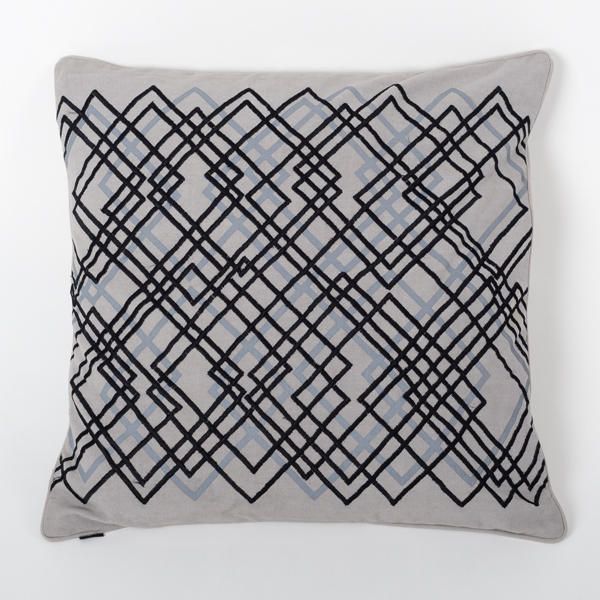 Laser Luna - Grey Cotton Cushion Cover with Thread Embroidery