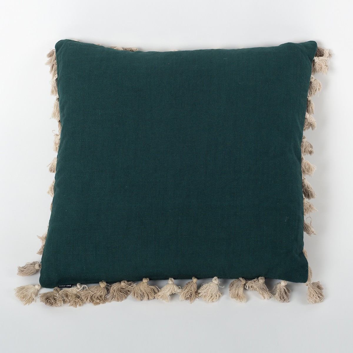 Moss Green Linen Cushion Cover with Tassels
