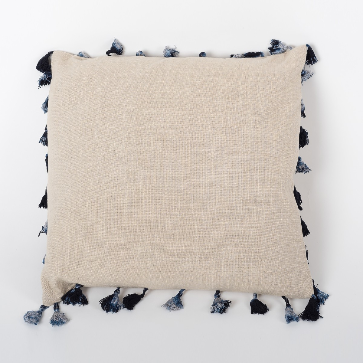 Natural Beige Linen Cushion Cover with Tassels