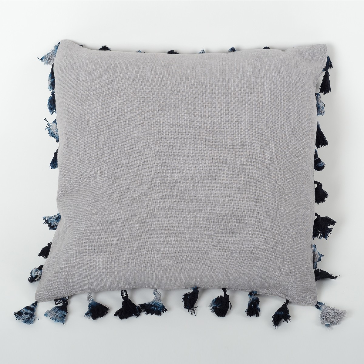 Silver Grey Linen Cushion Cover with Tassels