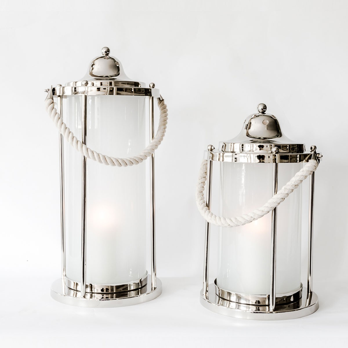 milky-white glass rope handle lantern
