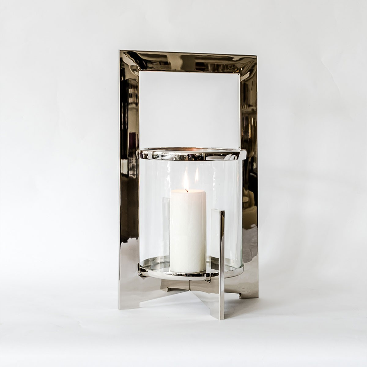 Aluminium And Glass Hurricane Lamp