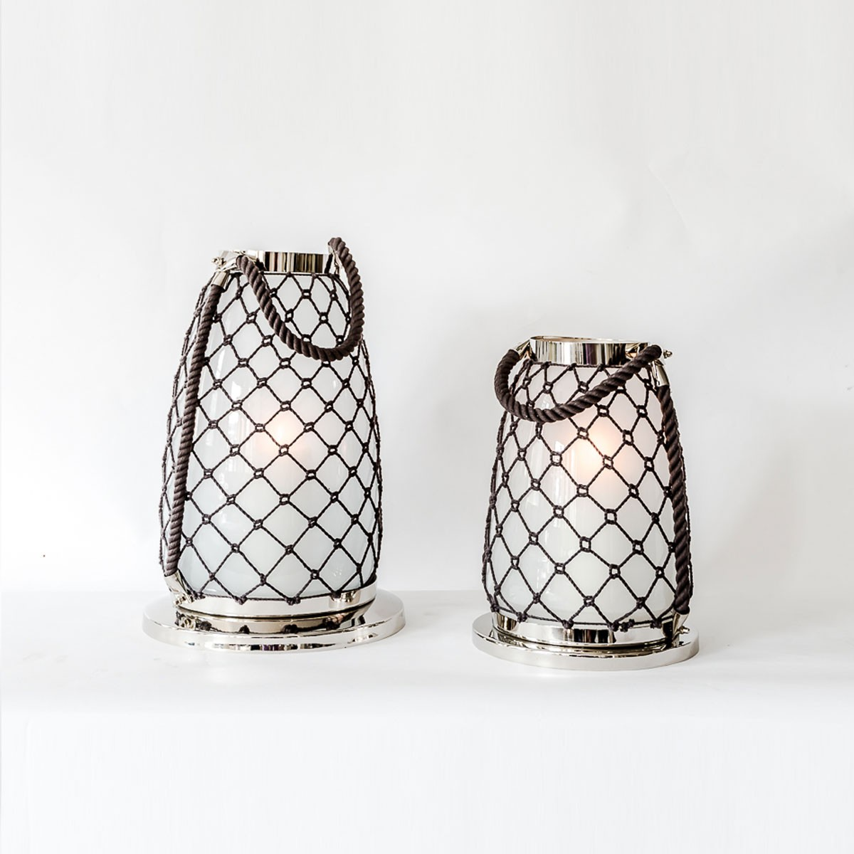 Ivory - Aluminium and Glass Rope Decorative Lantern