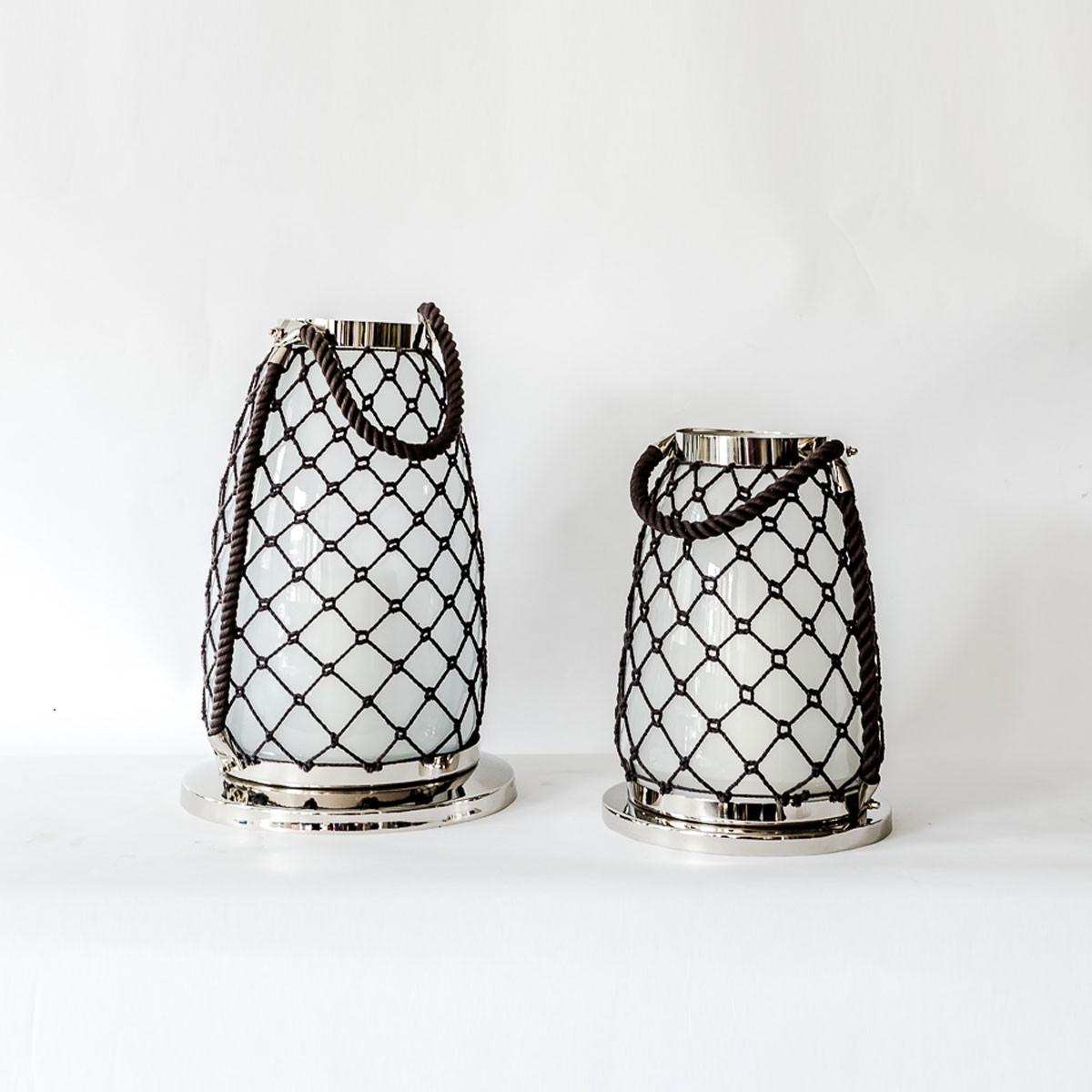 Aluminium & Glass Rope Decorative Lantern