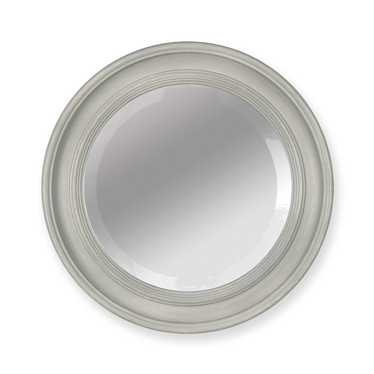 Nico - Circular Bevelled Mirror with Hand Finished Wooden Frame