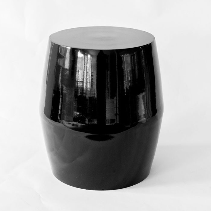 Black Polished Aluminium Drum Side Table