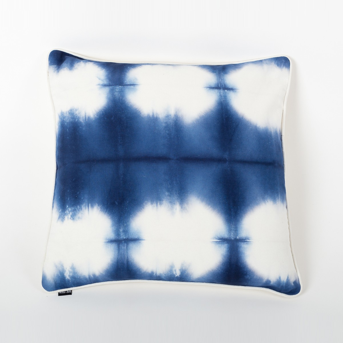 Blue & Ivory Tie & Dye Cotton Cushion Cover Front