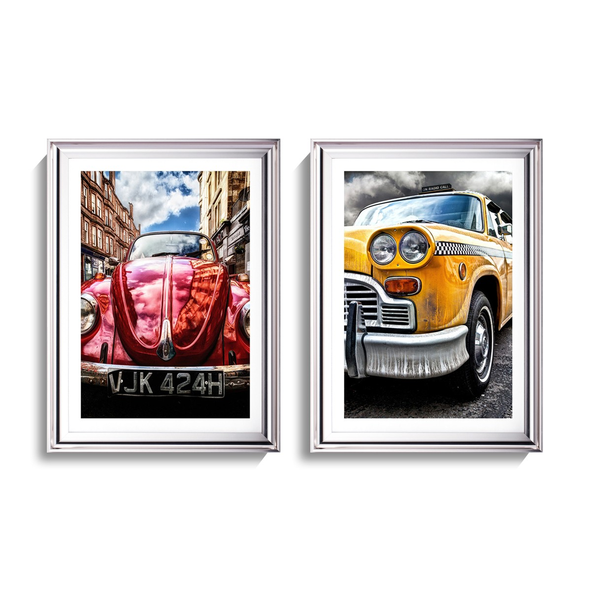 Front Headlight of Vintage Car Print Wall Art