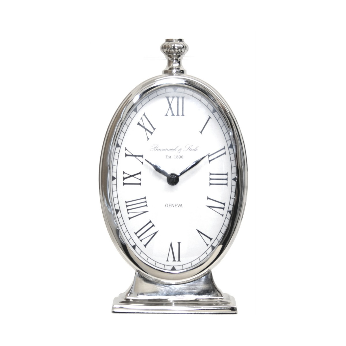 Oval Silver Ticker Table Clock