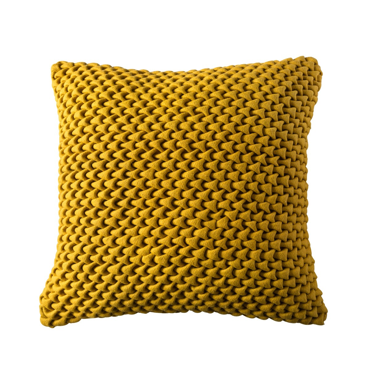 Felt Yellow Dyed Knitted Cushion Cover with Filler Front