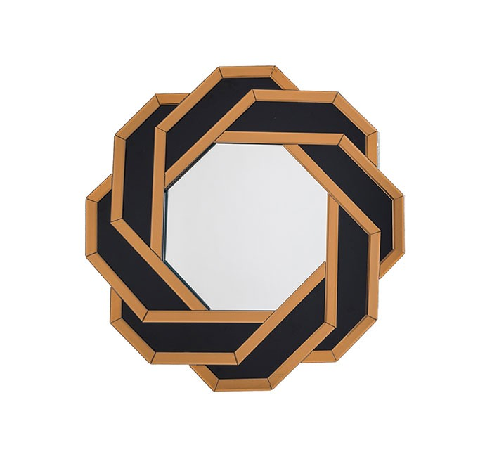 Christine Black and Gold Octagonal Accent Wall Mirror