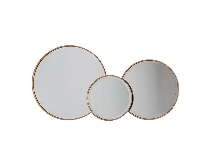 Sara Set of 3 Antique Round Wall Mirrors in Black and Gold