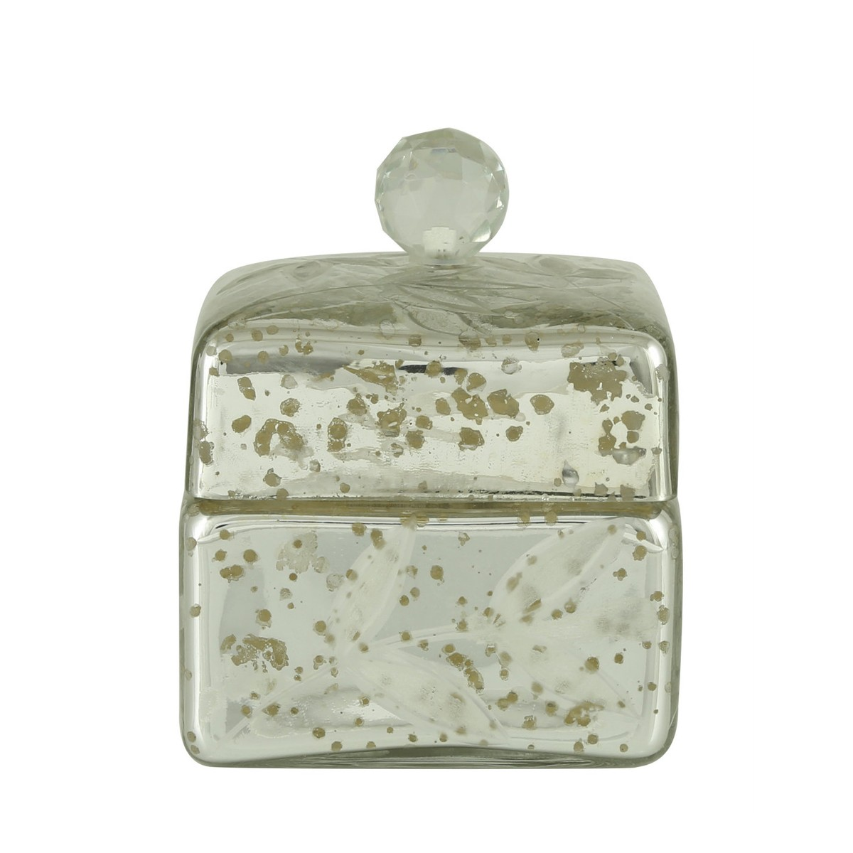 Joyero - Small Silver Square Box with Crystal Glass Knob