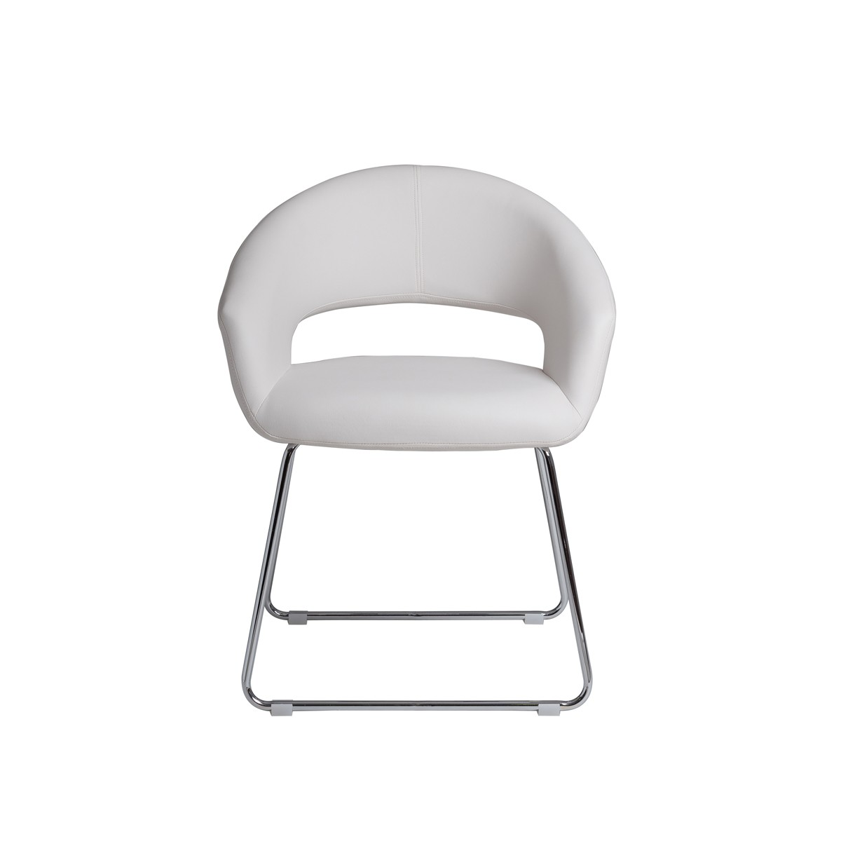 Pedro  -  White Dining Chair with Chrome Legs