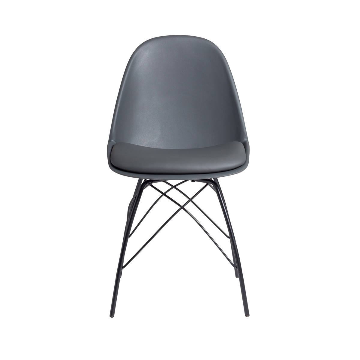 Chase  - Dark Grey Dining Chair with Powder Coated Metal Legs
