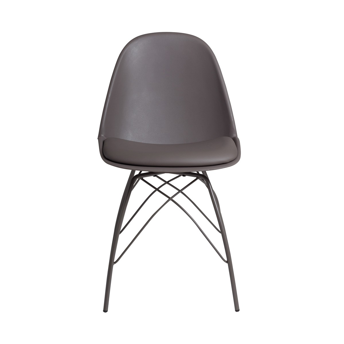 Adam  -  Dark Taupe Dining Chair with Powder Coated Metal Legs