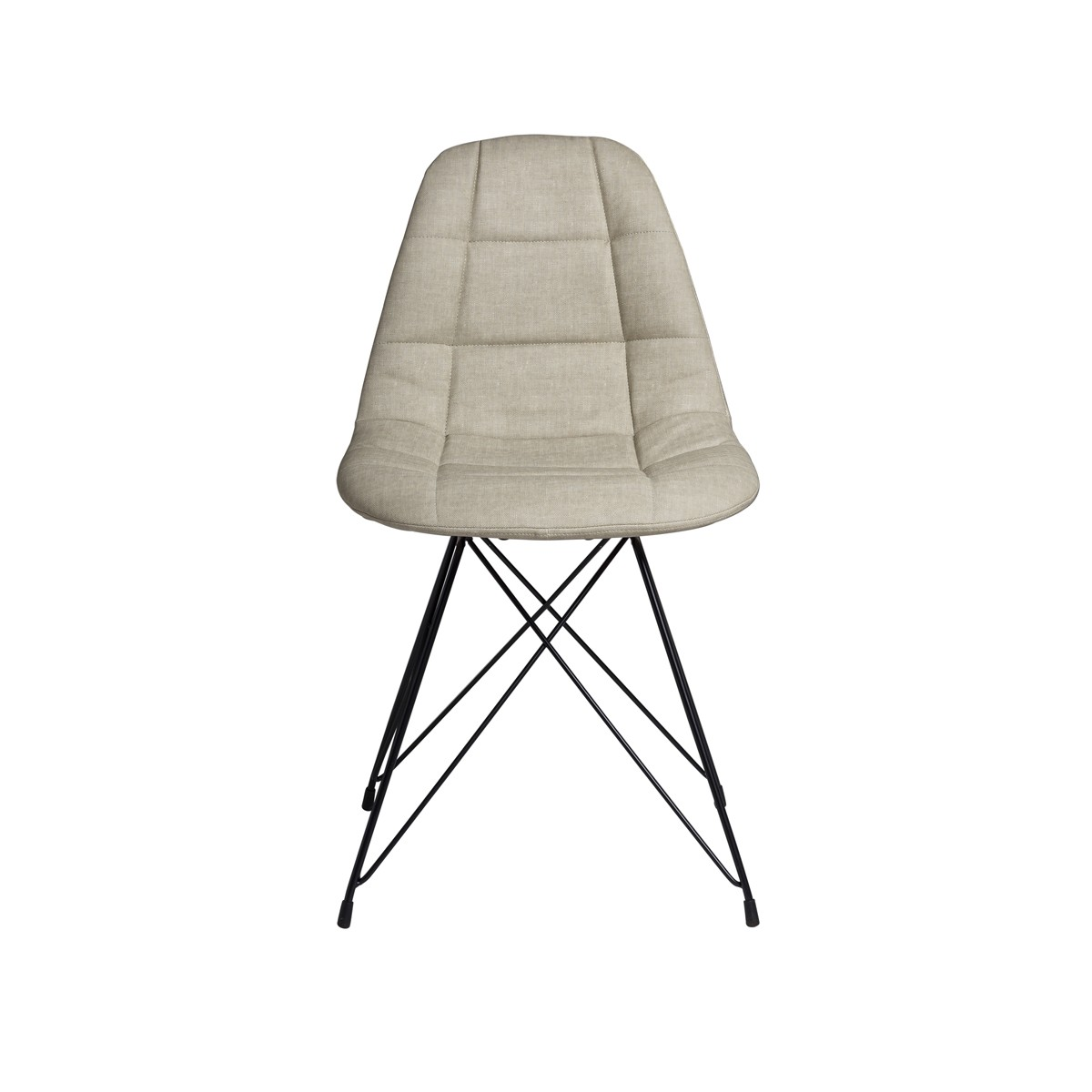 Zane  - Dining Chair Beige with Powder Coated Metal Legs