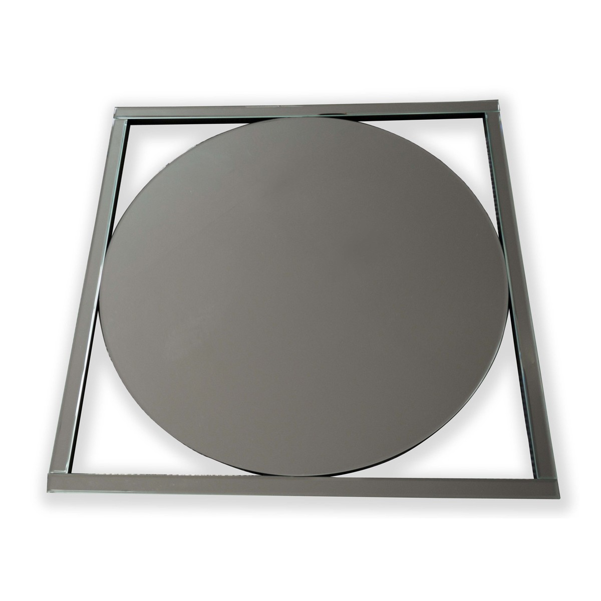 Miles - Circular Mirror in a Square Mirrored Frame
