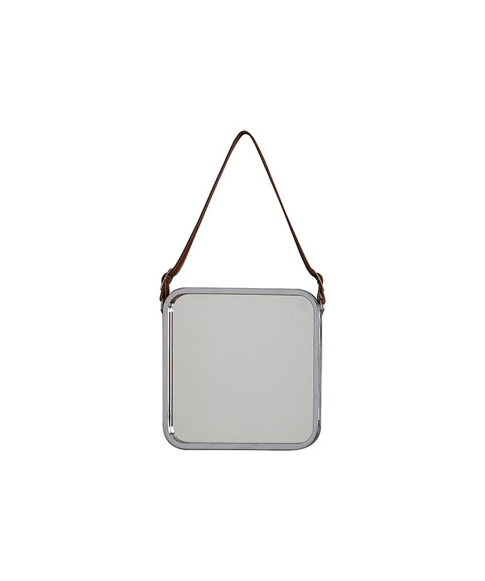 Catherine Industrial Square Wall Hanging Mirror with Leather Strap