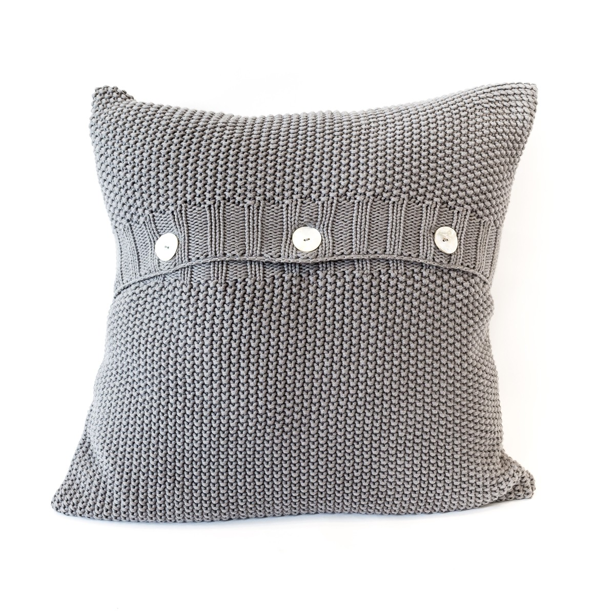 Charcoal Moss Stitch Cushion Cover Front