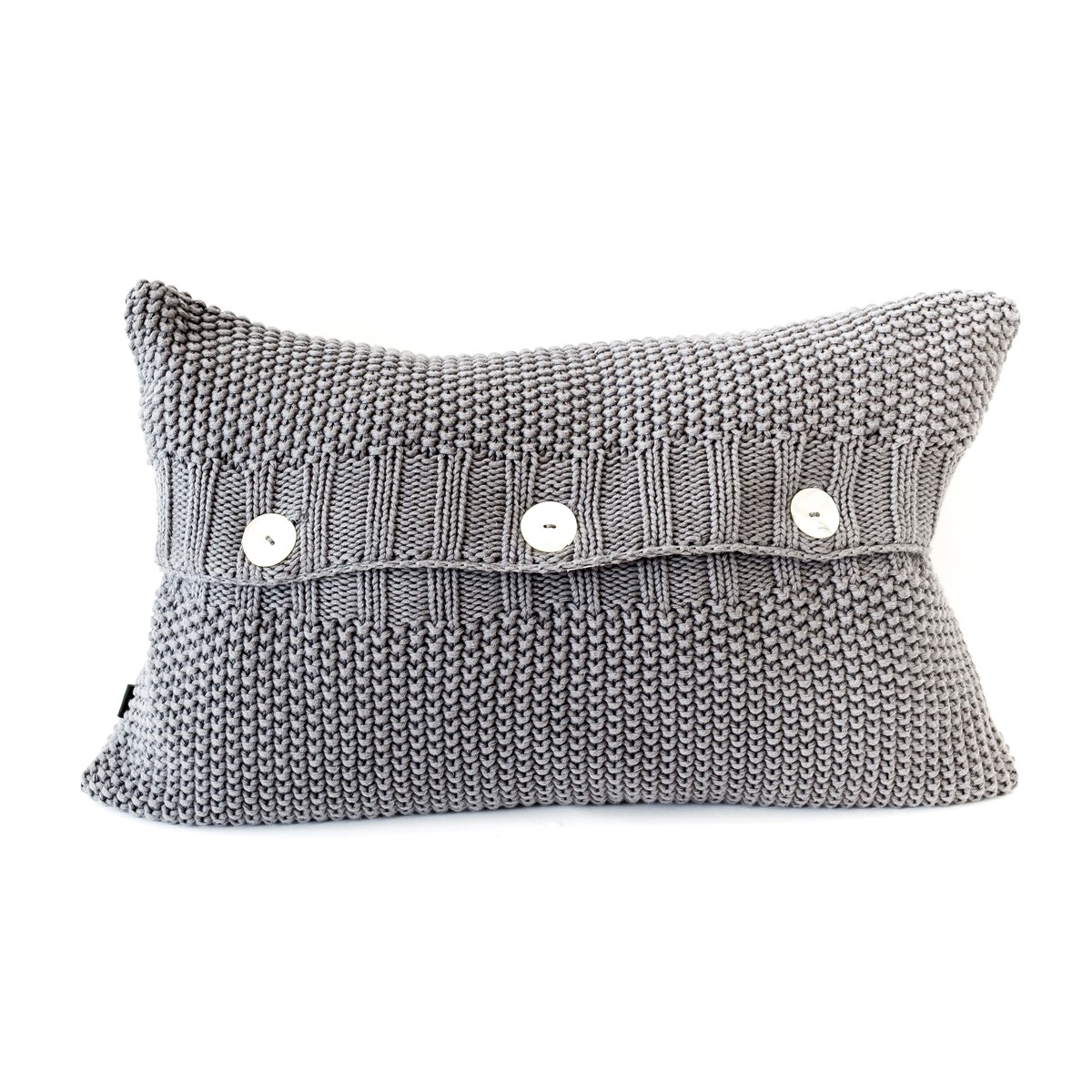 Rectangular Moss Stitch Cushion Cover Charcoal Front