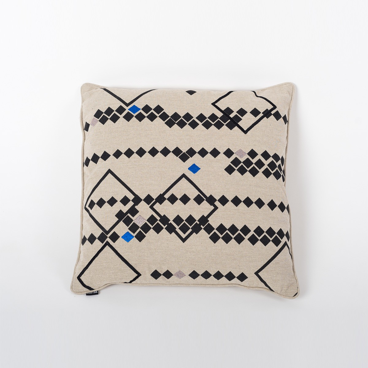 Rhombus Earth Natural Cotton Cushion Cover with Thread Embroidery Front