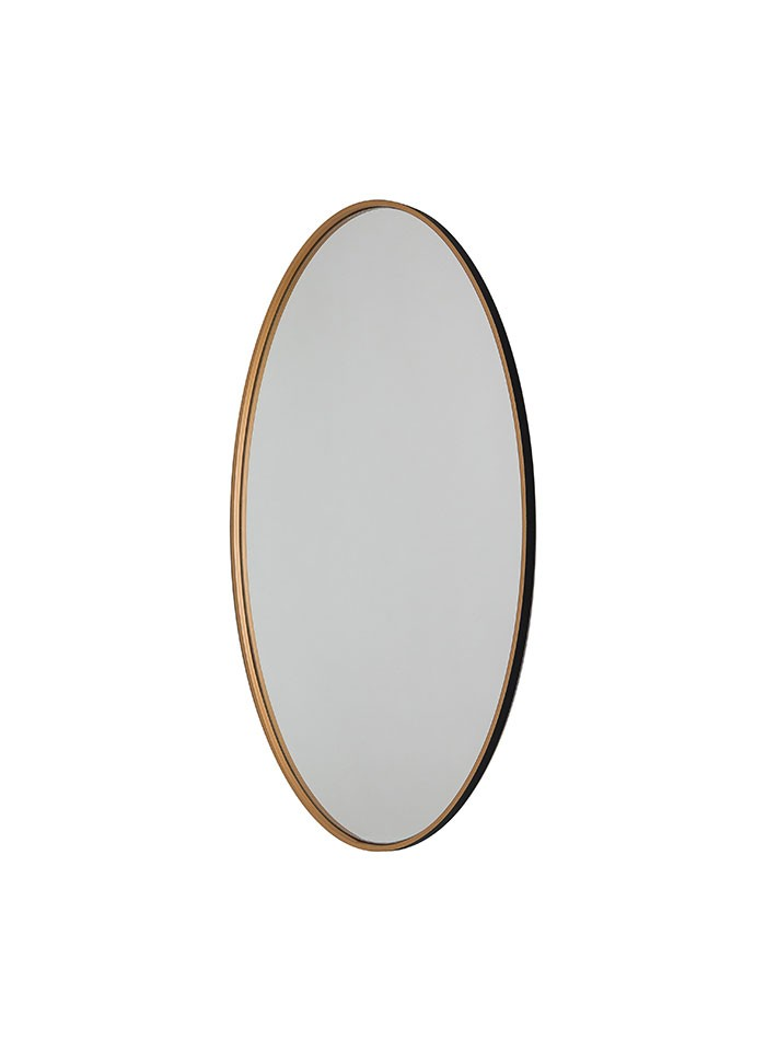Oval Wooden Circle Wall Hanging Mirror in Black and Gold Frame