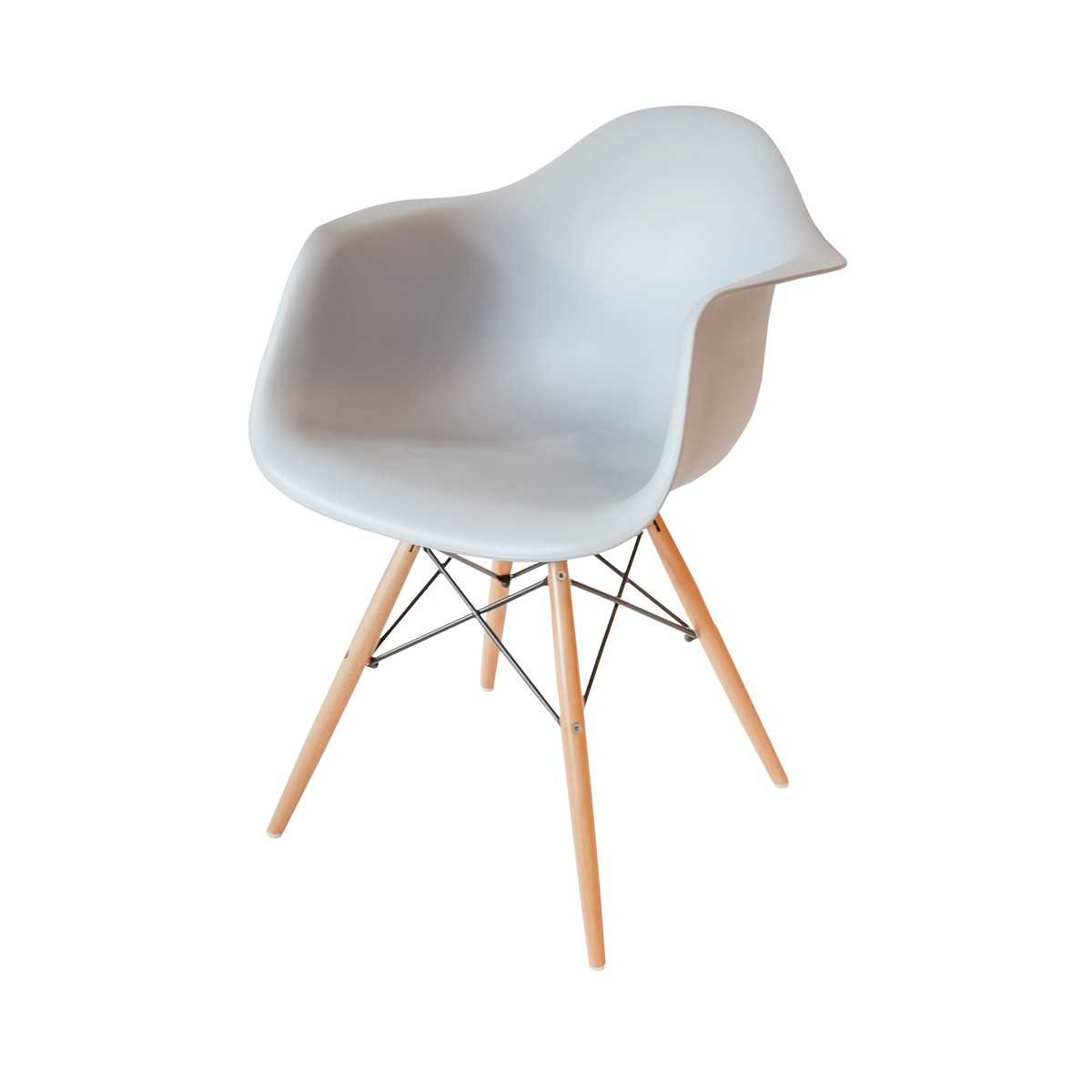 Central  - Light Grey Chair with Beech Wood Legs
