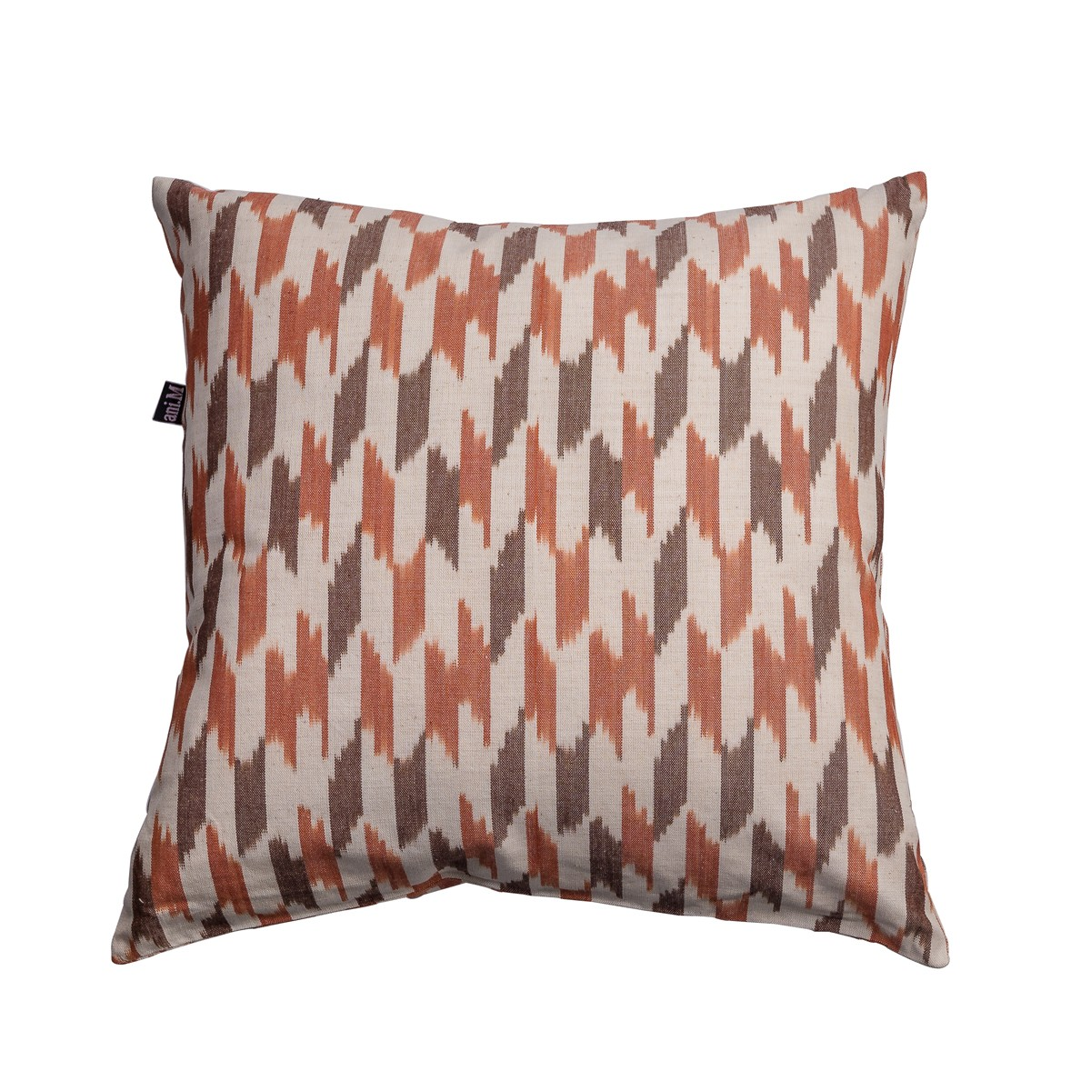 Single Square Orange Patterned Cushion Cover