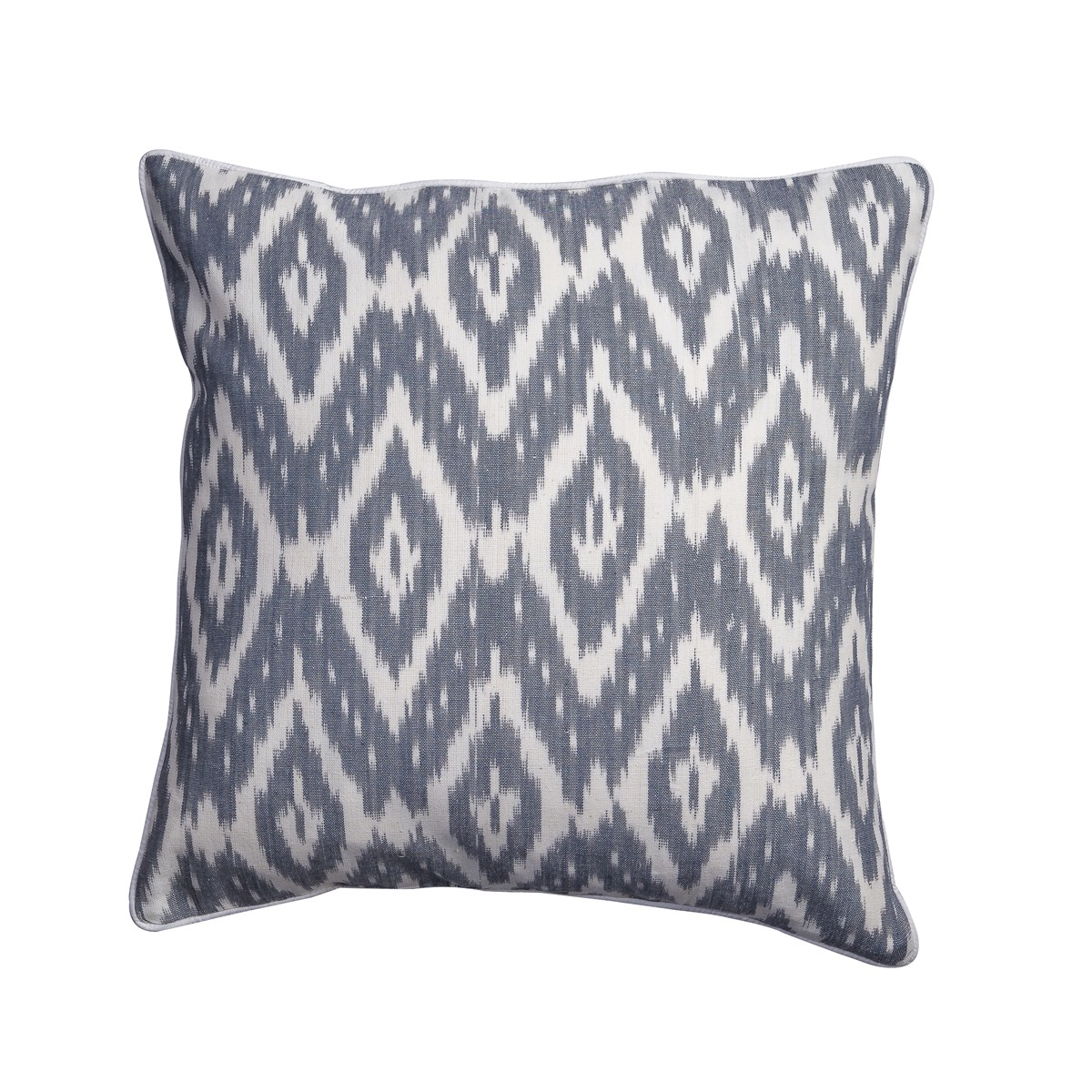 Mist - Grey patterned cushion with white piping - Single