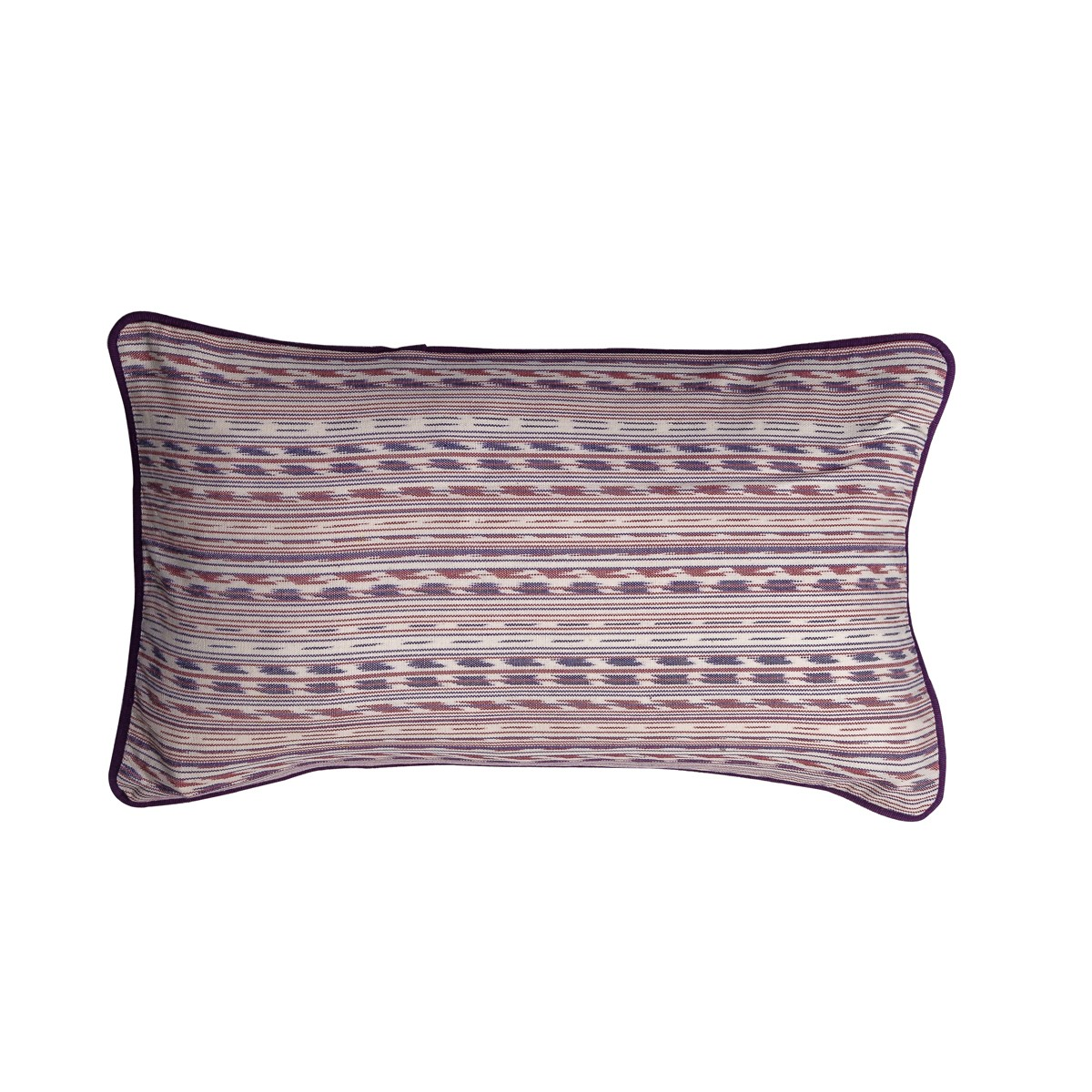 Single Purple Patterned Rectangle Cushion Cover with Piping