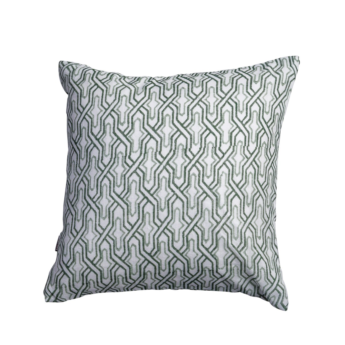 Single Square Green Patterned Cushion Cover