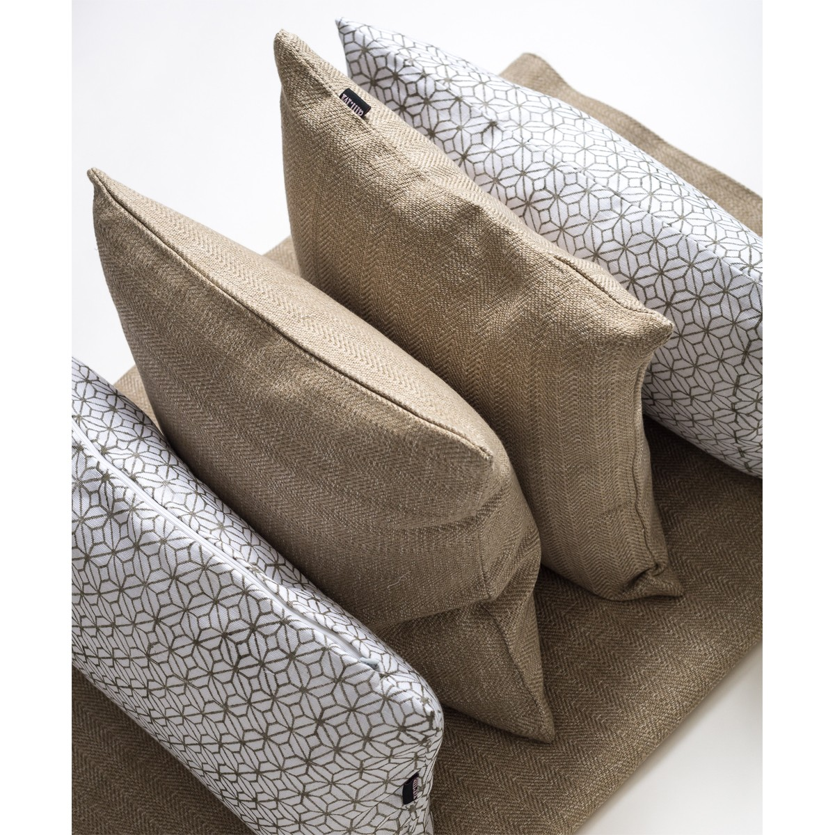 Single White patterned rectangle cushion cover