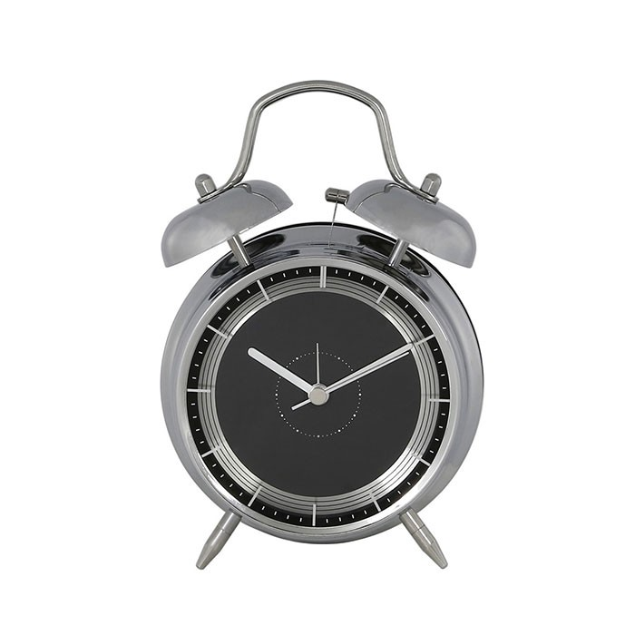 Small Black And Silver Tattler Bell Alarm Table Clock