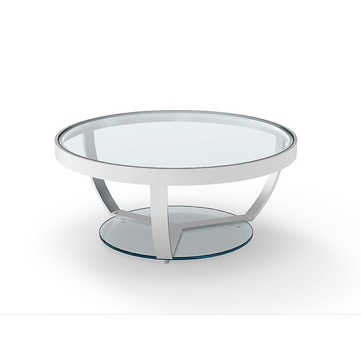 Sheer stainless steel polished round coffee table with for Clear coffee table