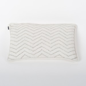 Petite Stellar - Ivory Lurex Linen Cushion Cover with Hand Embroidery and Ivory Cotton Back