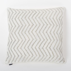 Stellar - Ivory Lurex Linen Cushion Cover with Hand Embroidery and Ivory Cotton Back