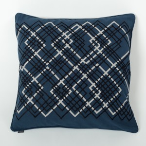 Laser Ink Blue Cotton Cushion Cover with Thread Embroidery Front