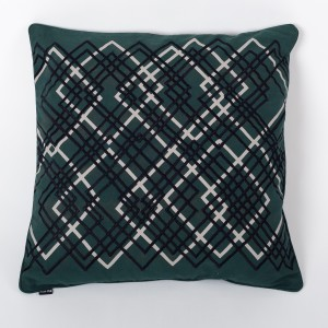 Laser Jardin - Moss Green Cotton Cushion Cover with Thread Embroidery