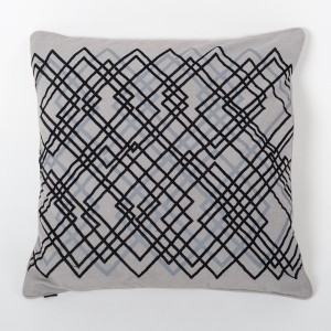 Grey Cotton Cushion Cover with Thread Embroidery Front