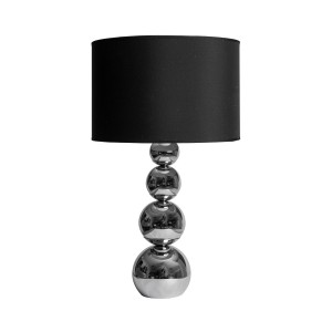 3 Ball Chrome Table Lamp with Black Shade