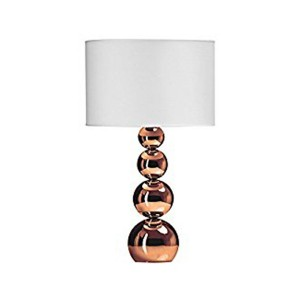 Droplets Graduated Copper Effect Table Lamp with White Shade