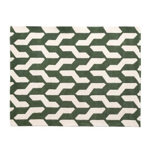 Green & Beige Cable Area Rug